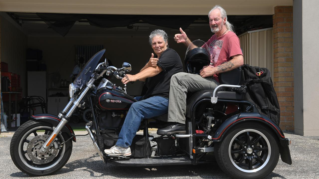 Gordon and Carmen Beaton have always liked to ride motorcycles. Carmen has bought a trike so Gordon can continue to go riding with her since he was diagnosed with motor neurone disease and has been unable to ride himself.