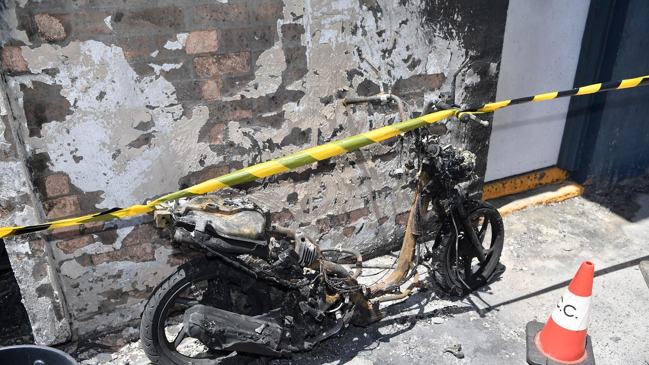 A scooter was set alight at the Kawana Beach surf control tower. Photo Patrick Woods / Sunshine Coast Daily.