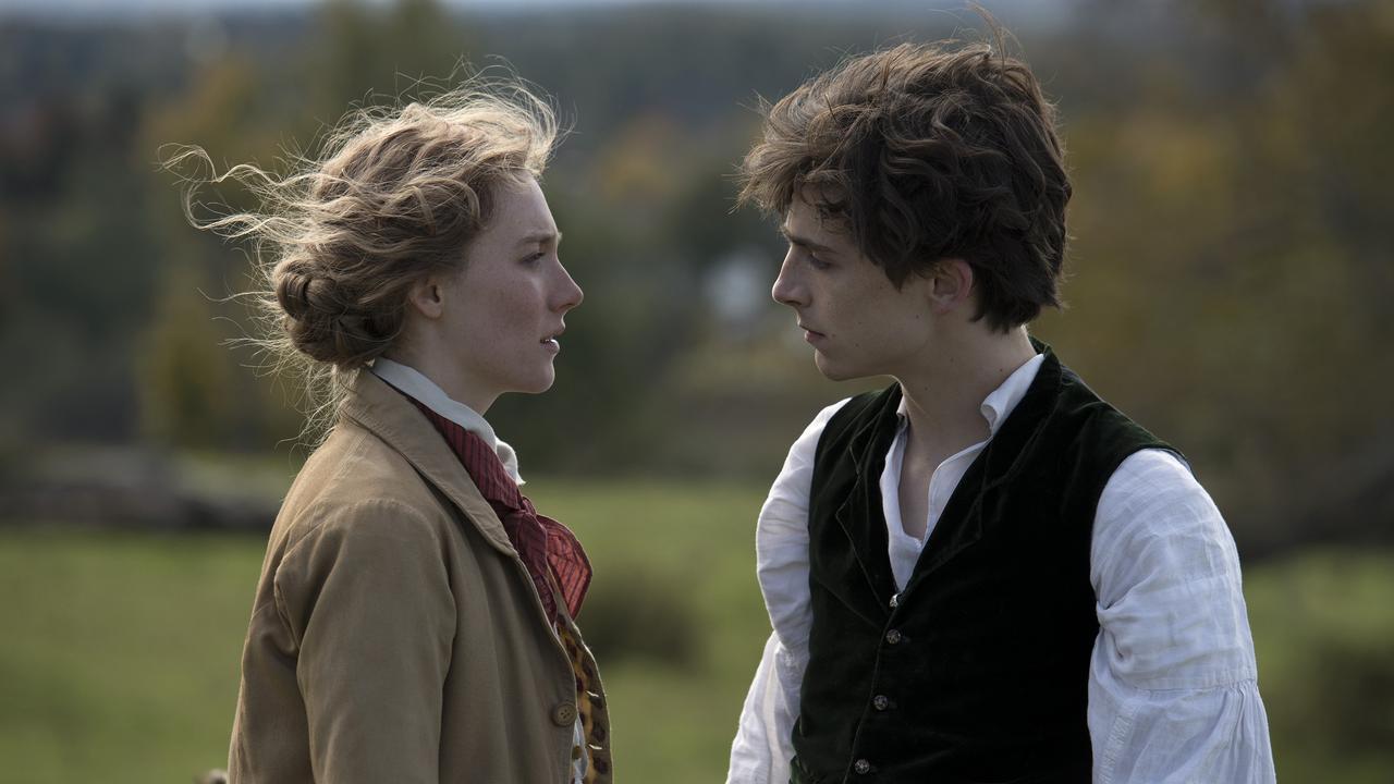 Saoirse Ronan (Jo) and Timothee Chalamet (Laurie) in Little Women.