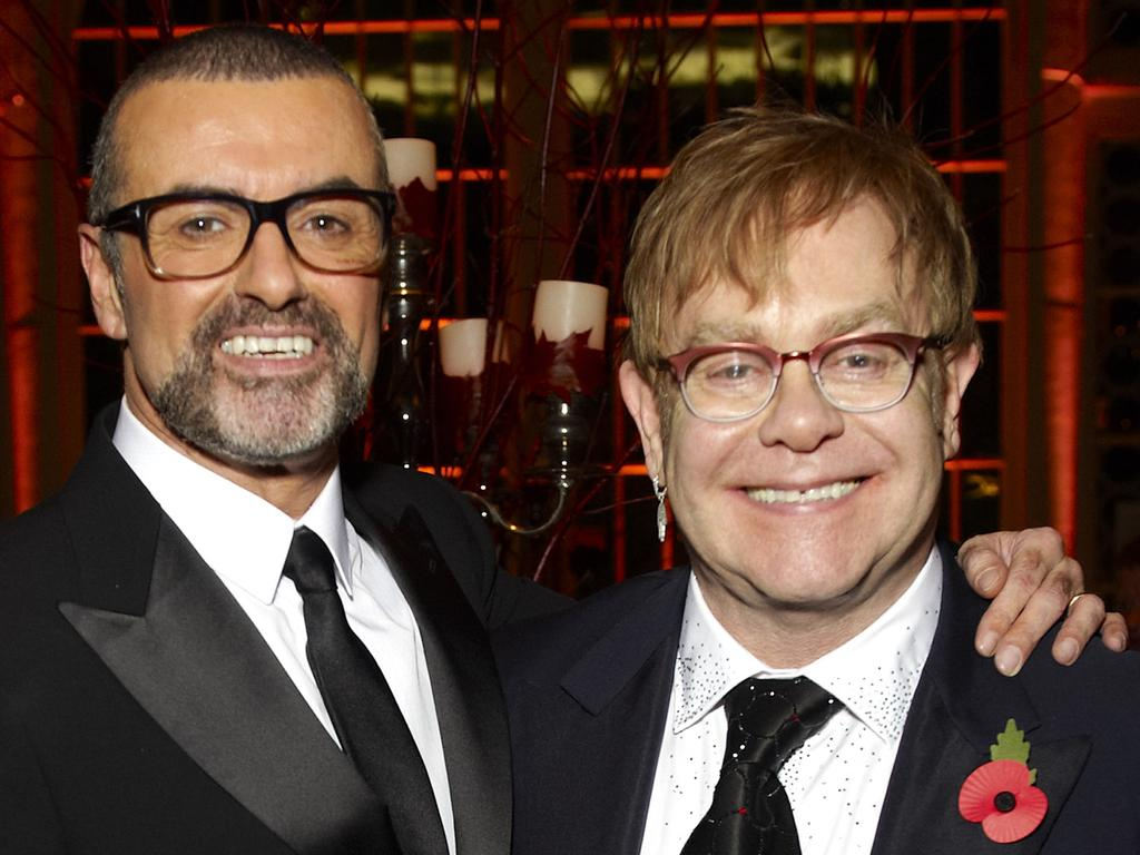George Michael and Sir Elton John attend a charity performance benefiting the Elton John AIDS Foundation's newly created Elizabeth Taylor Memorial Fund at the Royal Opera House on November 6, 2011 in London, England. Picture: Getty