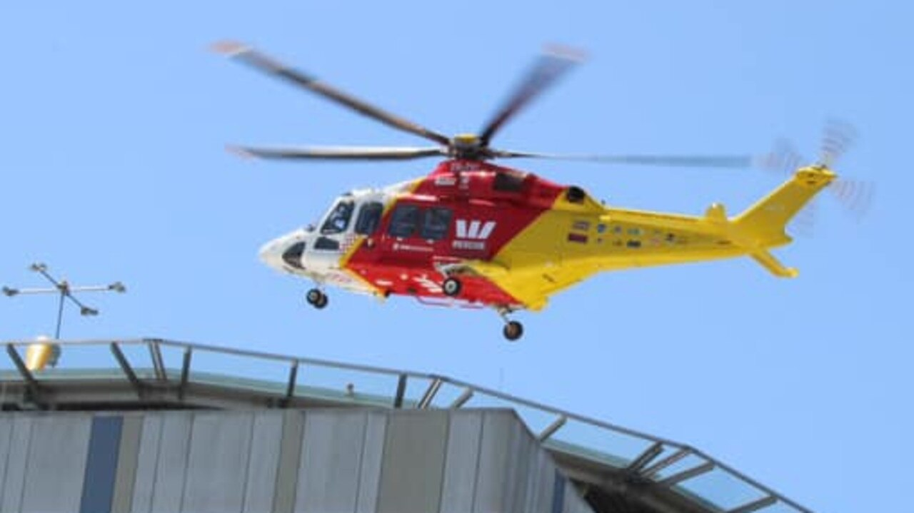 Westpac Life Saver Rescue Helicopter landing at Lismore Base Hospital.