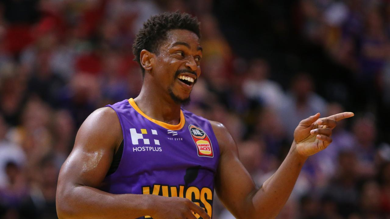 Casper Ware of the Kings reacts during the Round 13 NBL match between the Sydney Kings and the Perth Wildcats.