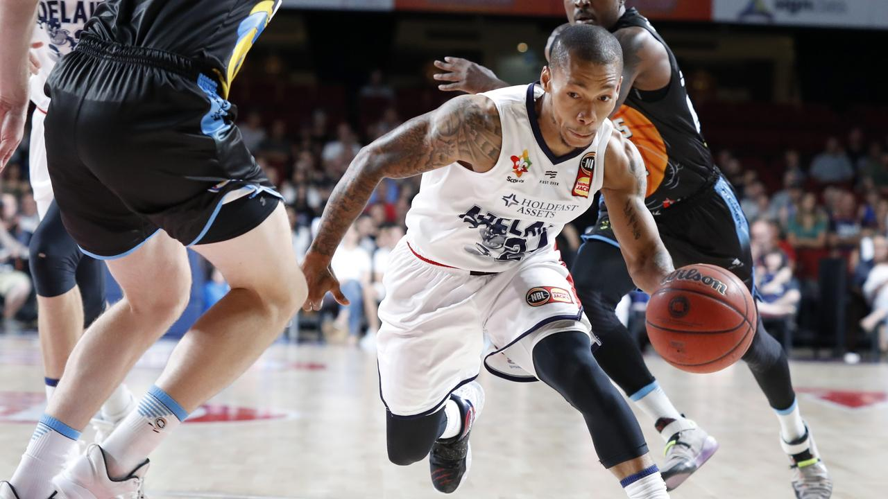 Jerome Randle driving to the basket for Adelaide against New Zealand on Sunday. Picture: Kelly Barnes/Getty Images