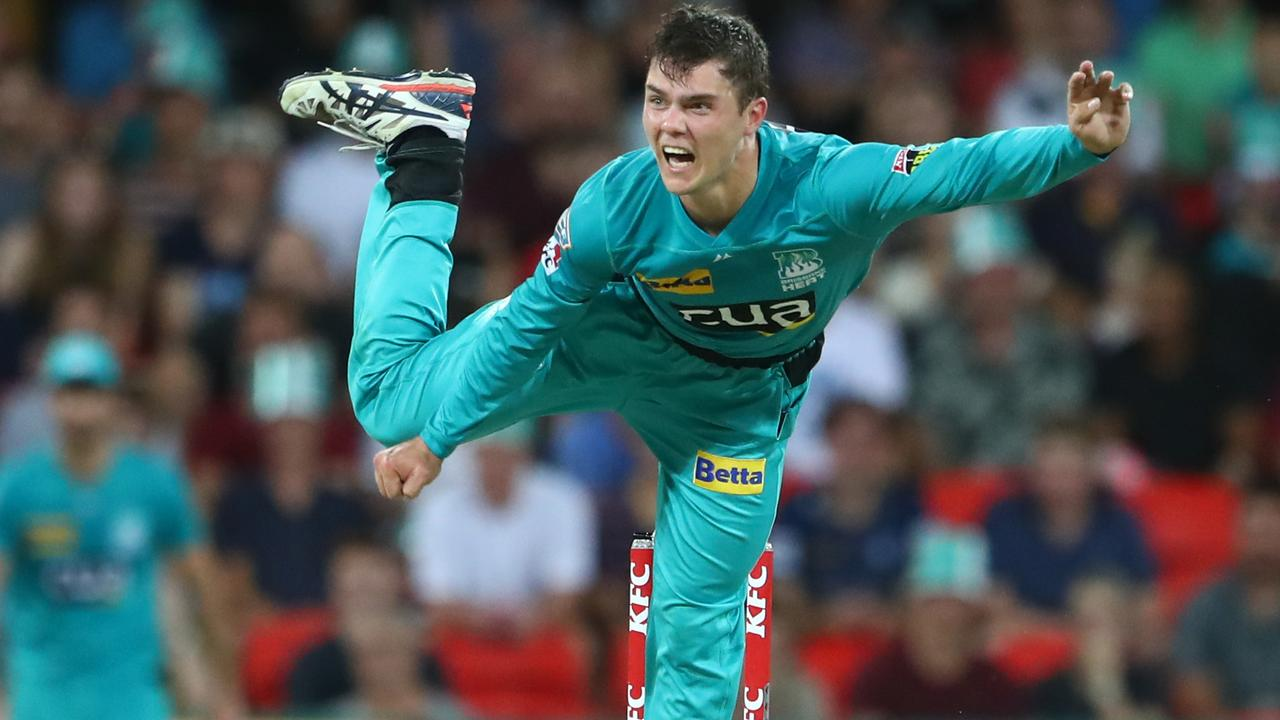 GOLD COAST, AUSTRALIA - DECEMBER 20: Mitch Swepson of the Heats bowls during the Big Bash League Match between the Brisbane Heat and the Melbourne Stars at Metricon Stadium on December 20, 2019 in Gold Coast, Australia. (Photo by Chris Hyde/Getty Images)