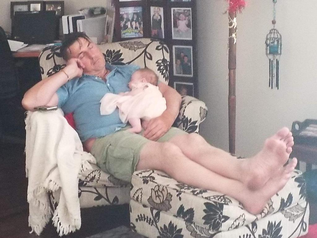 Mooroolbark bashing victim Anthony Clark with his granddaughter Aaliyah hours before the attack on Christmas Day.