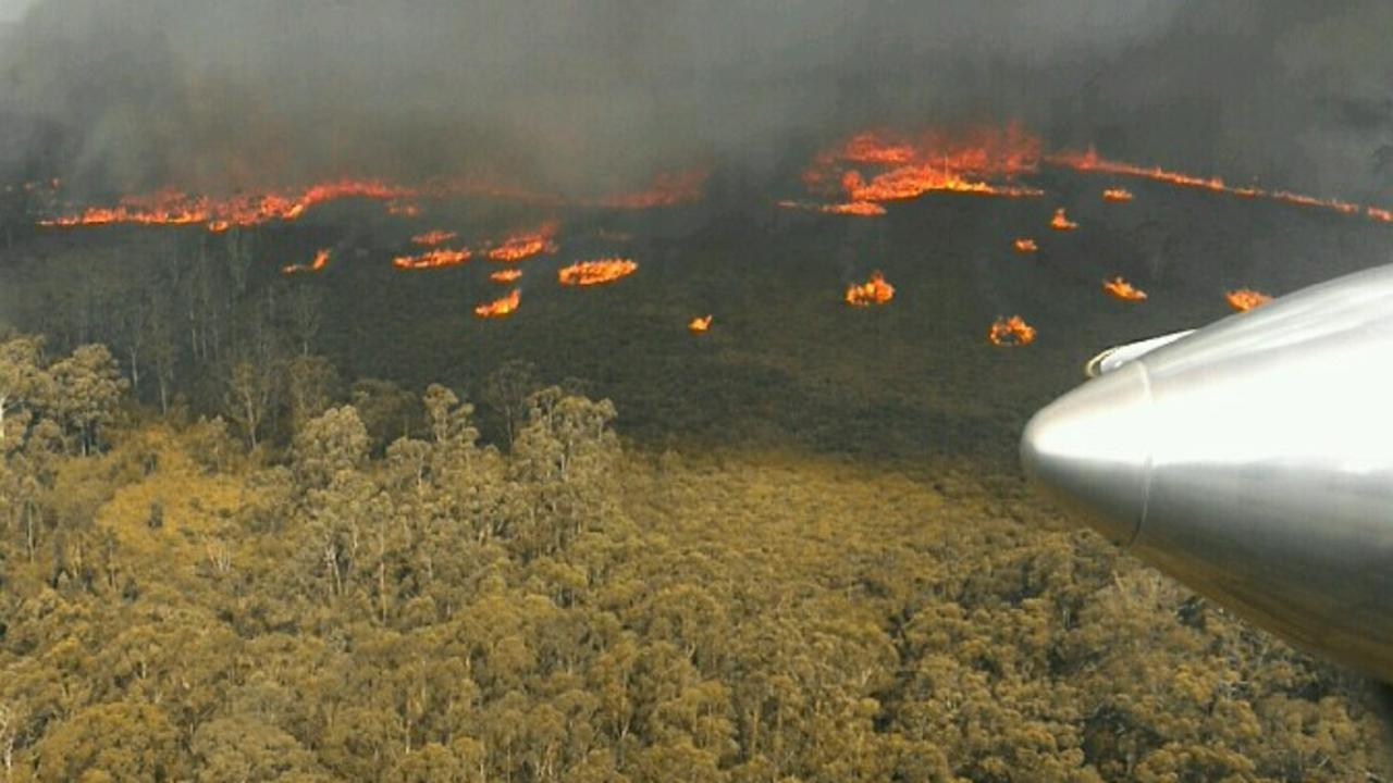 An aerial image of bushfires at Cabbage Tree Creek, East Gippsland on Sunday. Picture: DELWP Gippsland