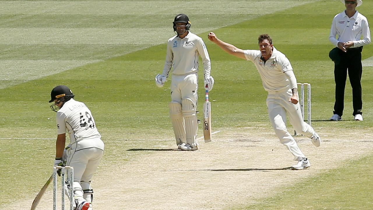 James Pattinson celebrates the wicket of Tom Latham. Picture: Getty Images