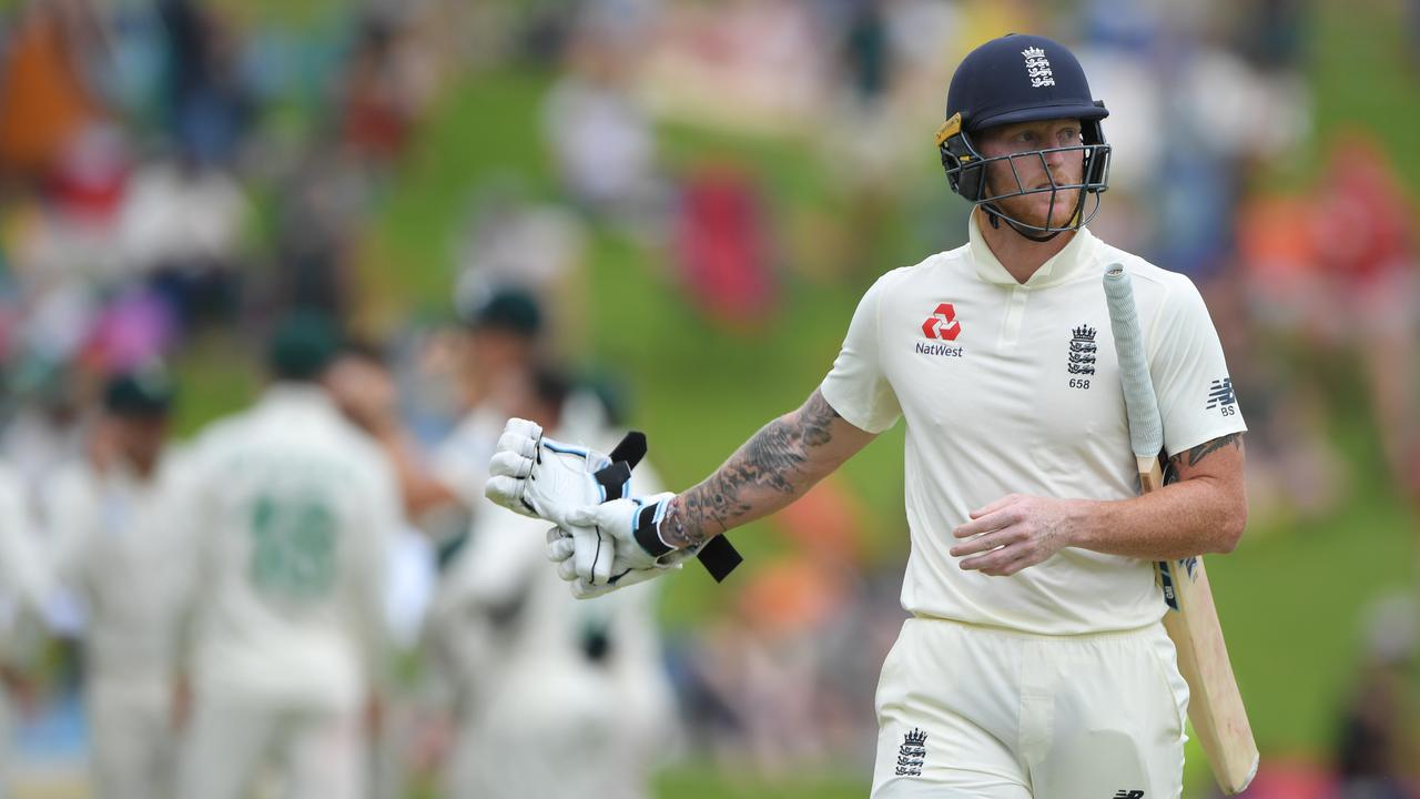 England's Ben Stokes reacts after being dismissed during the defeat. Picture: Getty
