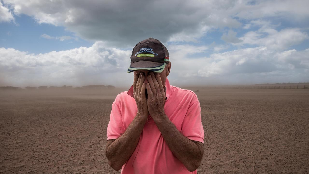 In the drought-ravaged East Gippsland region, Herald Sun photographer Jake Nowakowski captured the despair of a farmer whose paddocks had reduced to dirt.
