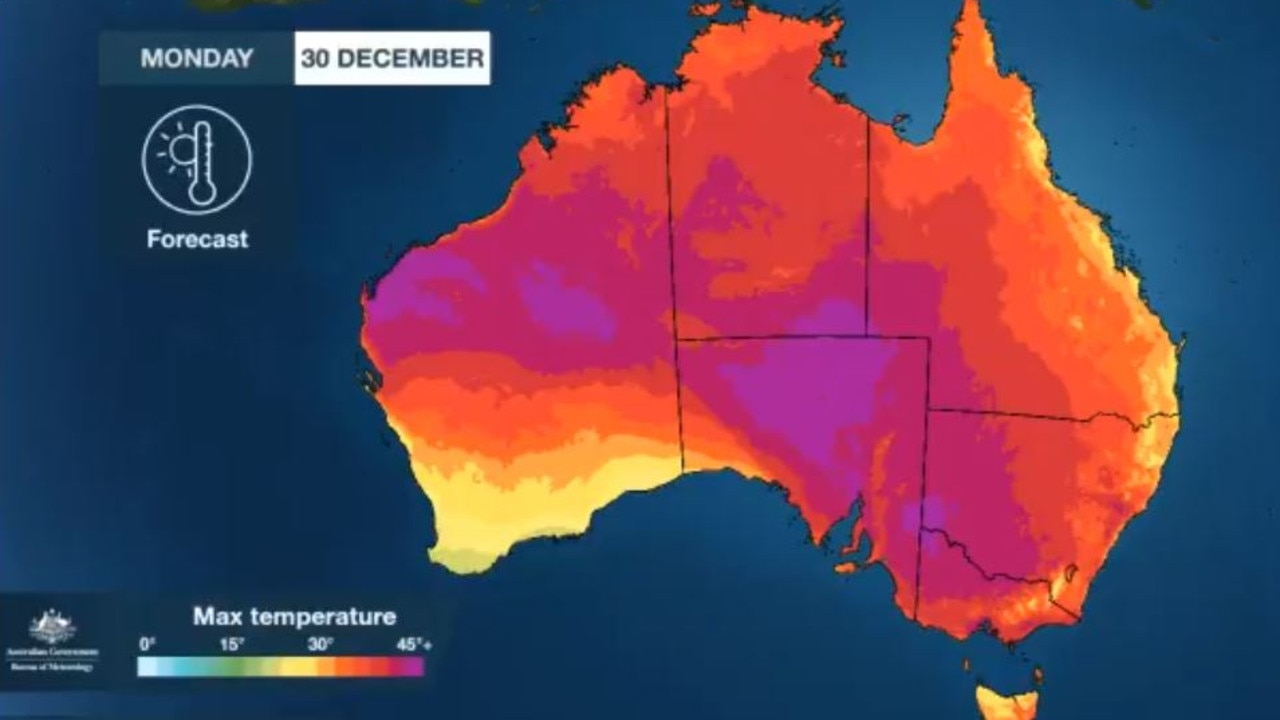 Much of Australia will swelter through a very hot Monday, which could also mark the hottest day in Australia's southernmost state for 122 years.