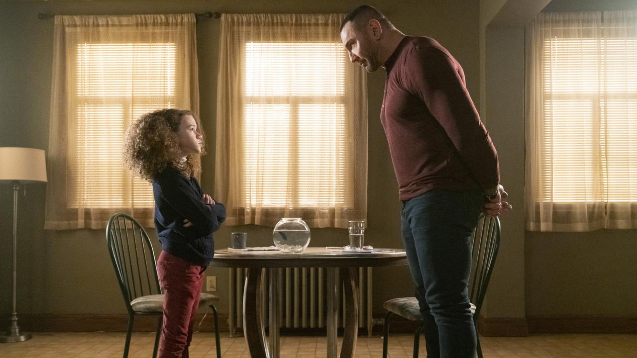 Dave Bautista and Chloe Coleman in a scene from My Spy. Supplied: Roadshow Films.