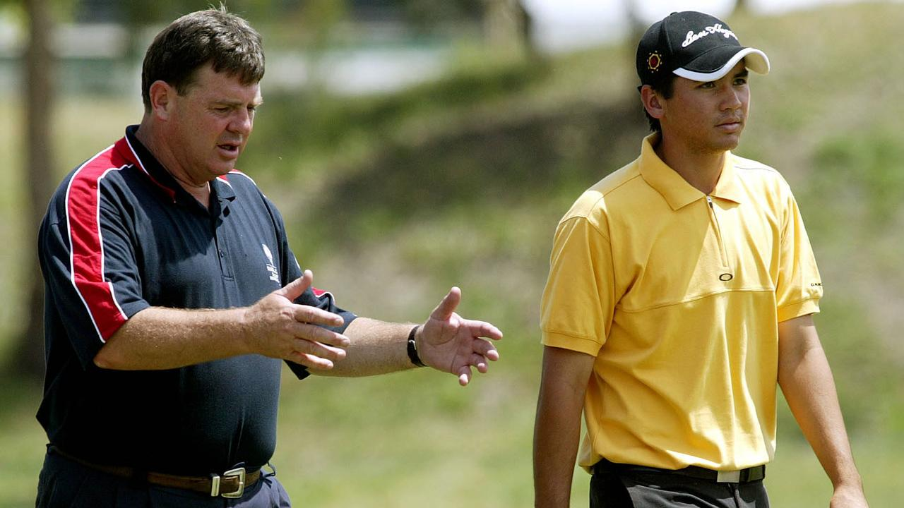Mental coach Sean Lynch walks with a then-17-year-old Jason Day at the Australian Masters back in 2004.
