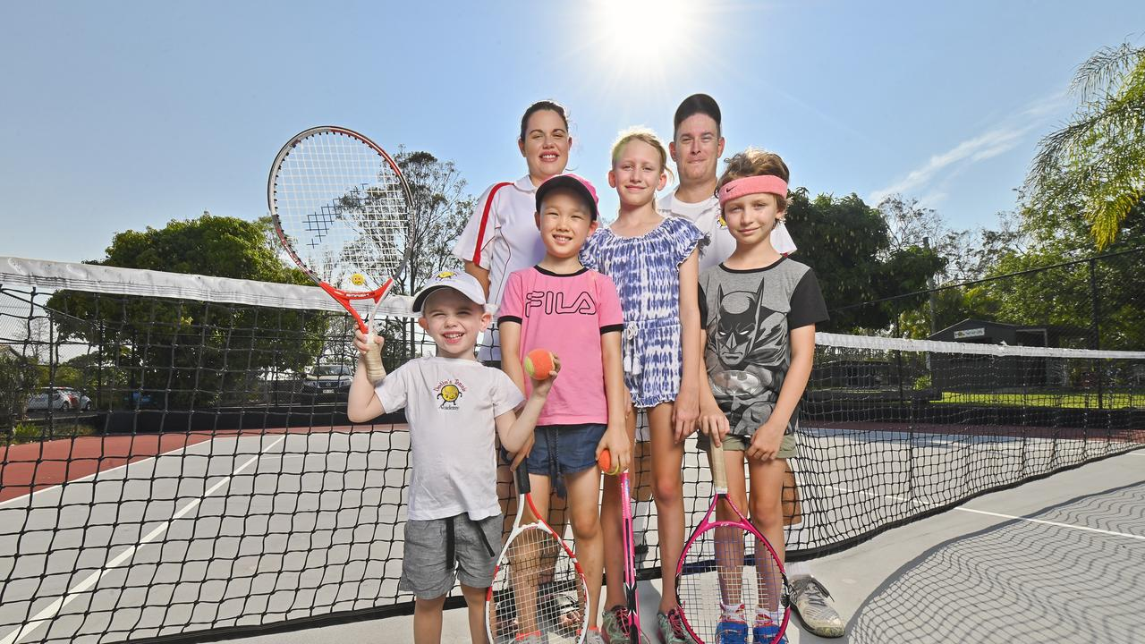 Beau and Kirstie Devlin with Rock Devlin, 3, Catherine O'Loughlin, 8, Elsie Murray, 9, and Violet Murray, 8 at Ipswich Tennis Centre.Picture: Cordell Richardson