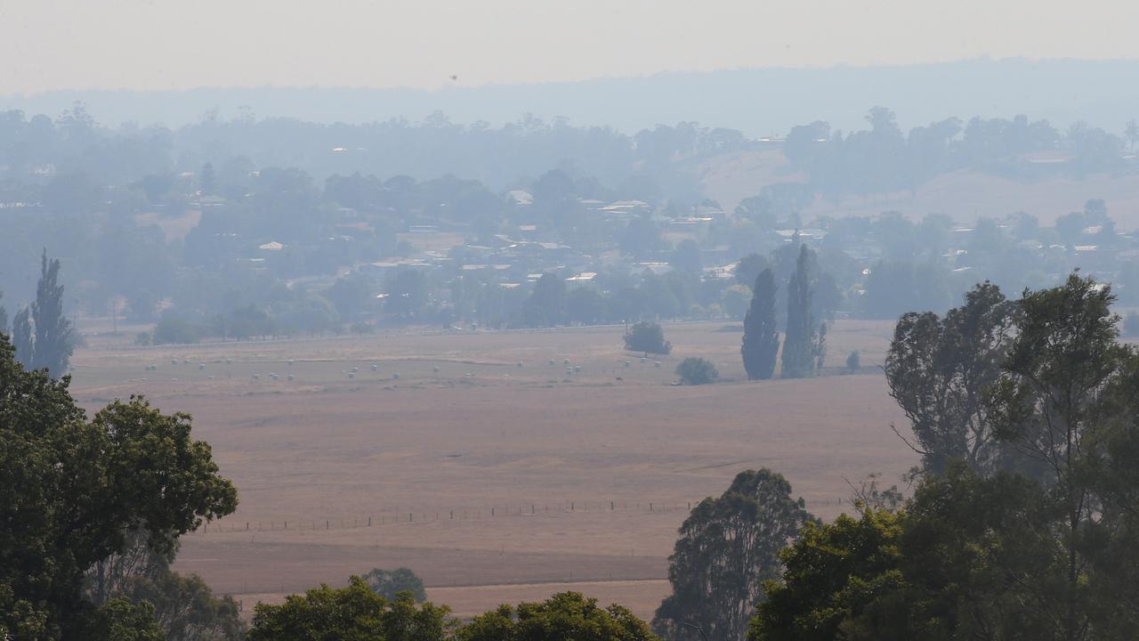 A smoke haze blankets Bruthen on Monday. Picture: David Crosling