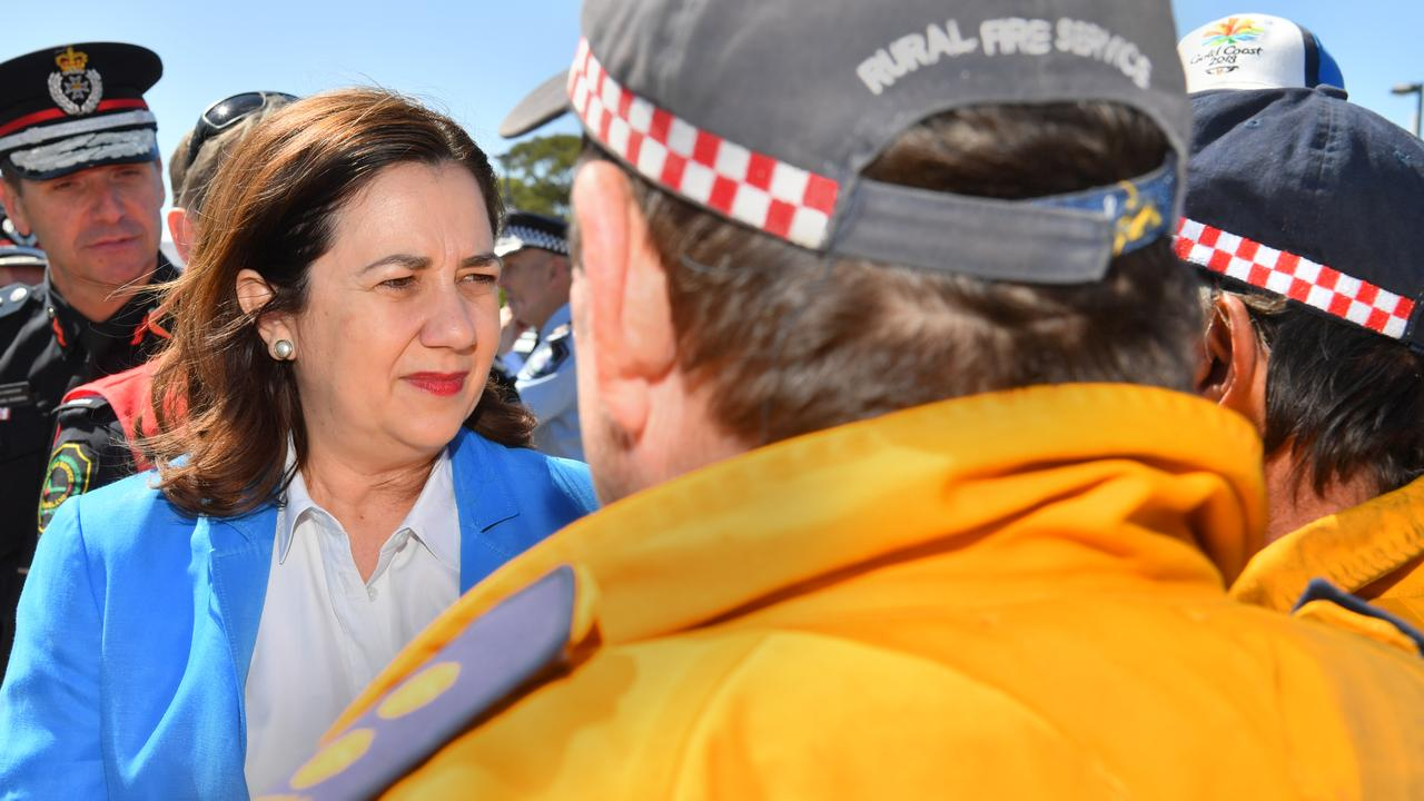 Queensland Premier Annastacia Palaszczuk visited Peregian Beach to pay tribute to the colossal effort and courage shown by emergency fire fighters during the horrendous fires. Photo: John McCutcheon