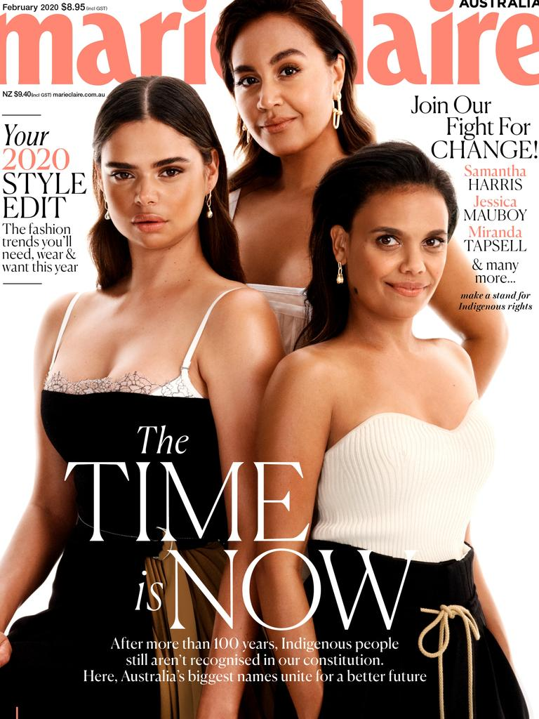 Samantha Harris, Jessica Mauboy and Miranda Tapsell on the cover of marieclaire magazine's February 2020 issue calling for Indigenous constitutional reform.