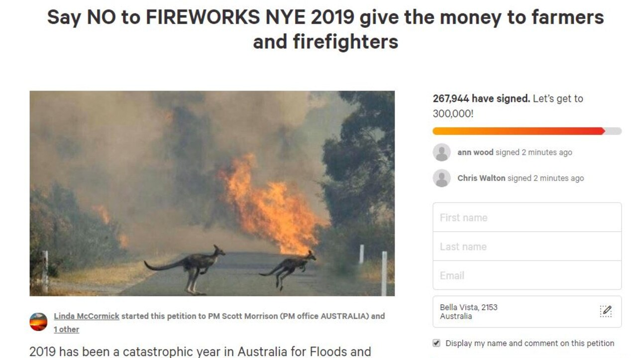The petition calling to cancel all fireworks across Australia this New Year's Eve had attracted hundreds of thousands of supporters. Picture: change.org