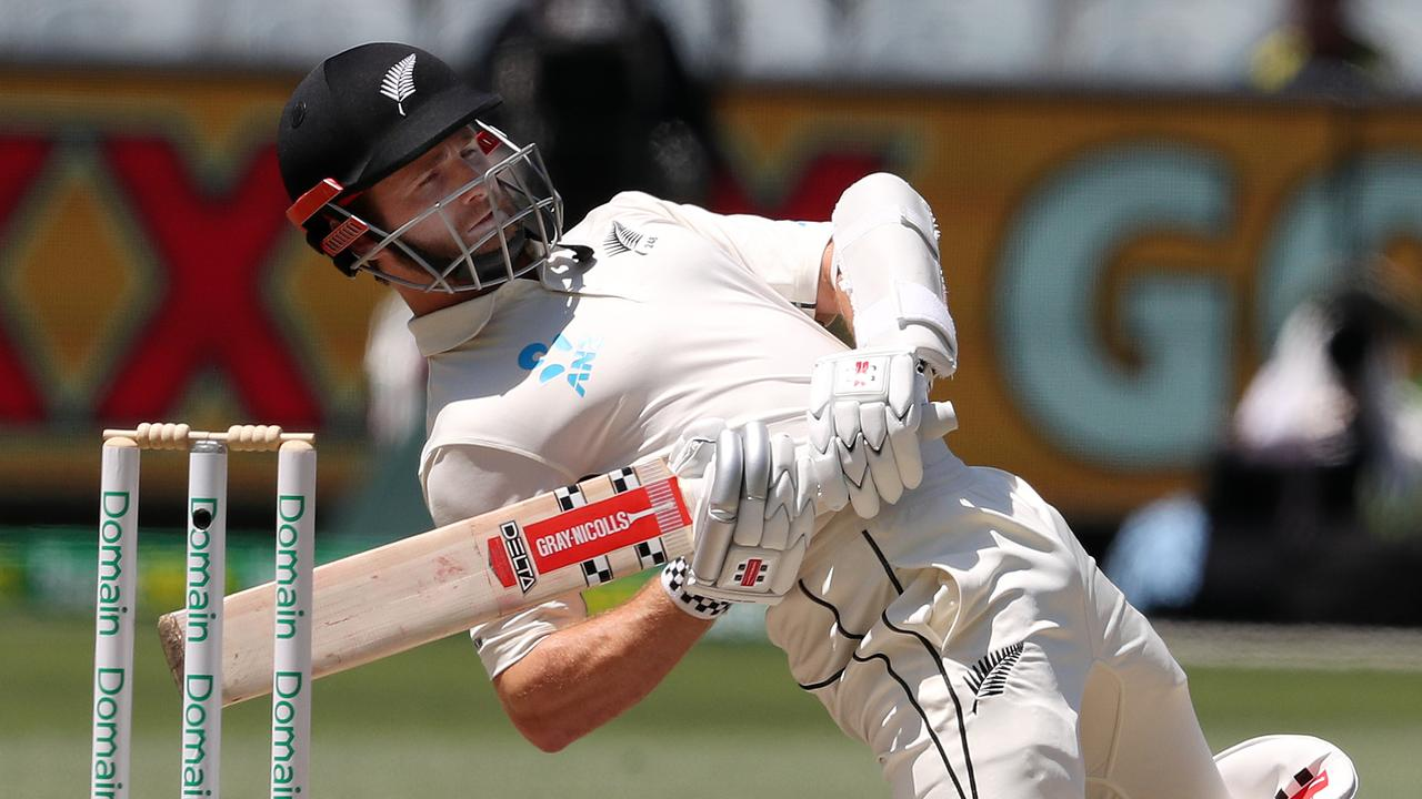 New Zealand captain Kane Williamson avoids a bouncer from Australia's Pat Cummins. Picture: Michael Klein