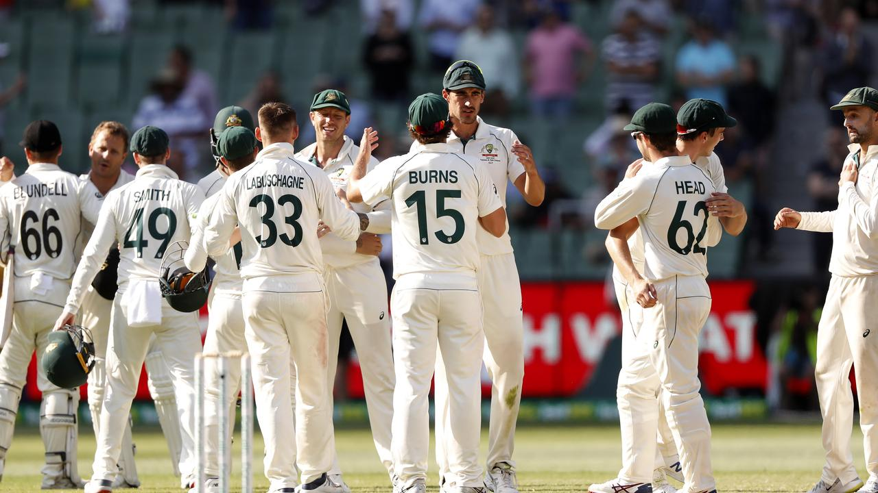 Job not done yet... Australian players celebrate their series victory following the MCG Test win. Picture: Getty