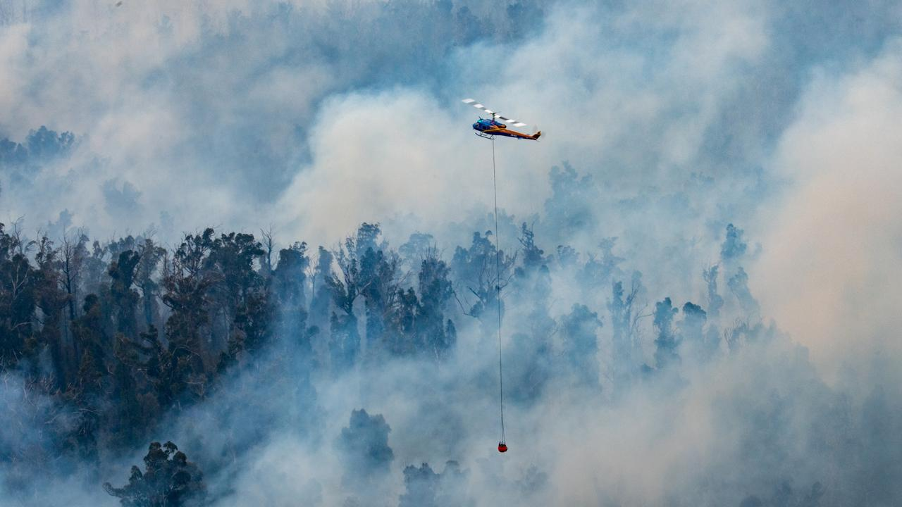 Fire bombing aircraft fighting the East Gippsland fires. Picture: Ned Dawson/DELWP