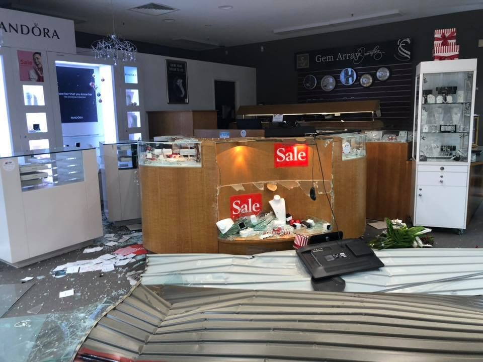 Gem Array in Ballina Fair was broken into after a car was used to ram-raid the shopping centre.