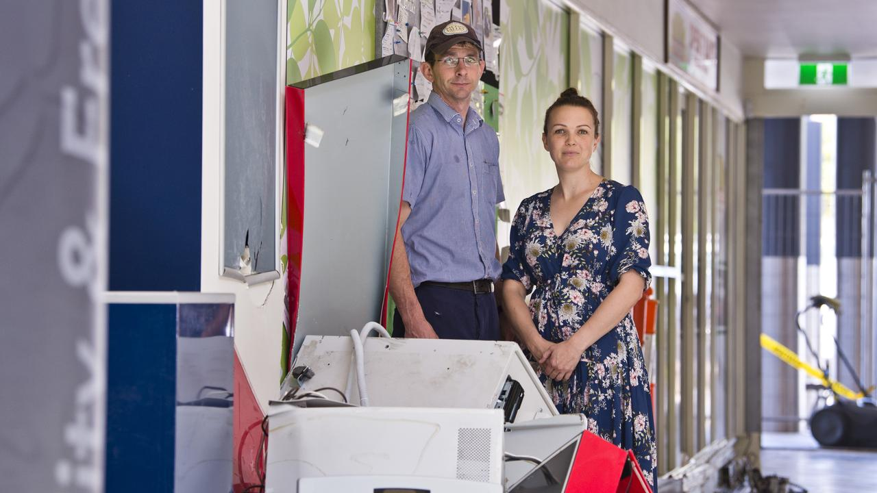 Westridge Meats owners Michelle and Luke Jensen survey the damage caused by a ram raid at Westridge Shopping Centre, Tuesday, December 31, 2019. Picture: Kevin Farmer