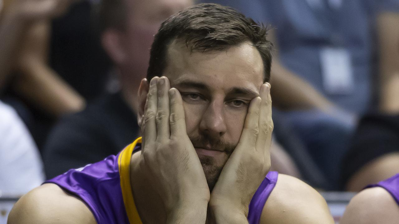 A dejected Andrew Bogut looks on. Picture: AAP/Craig Golding