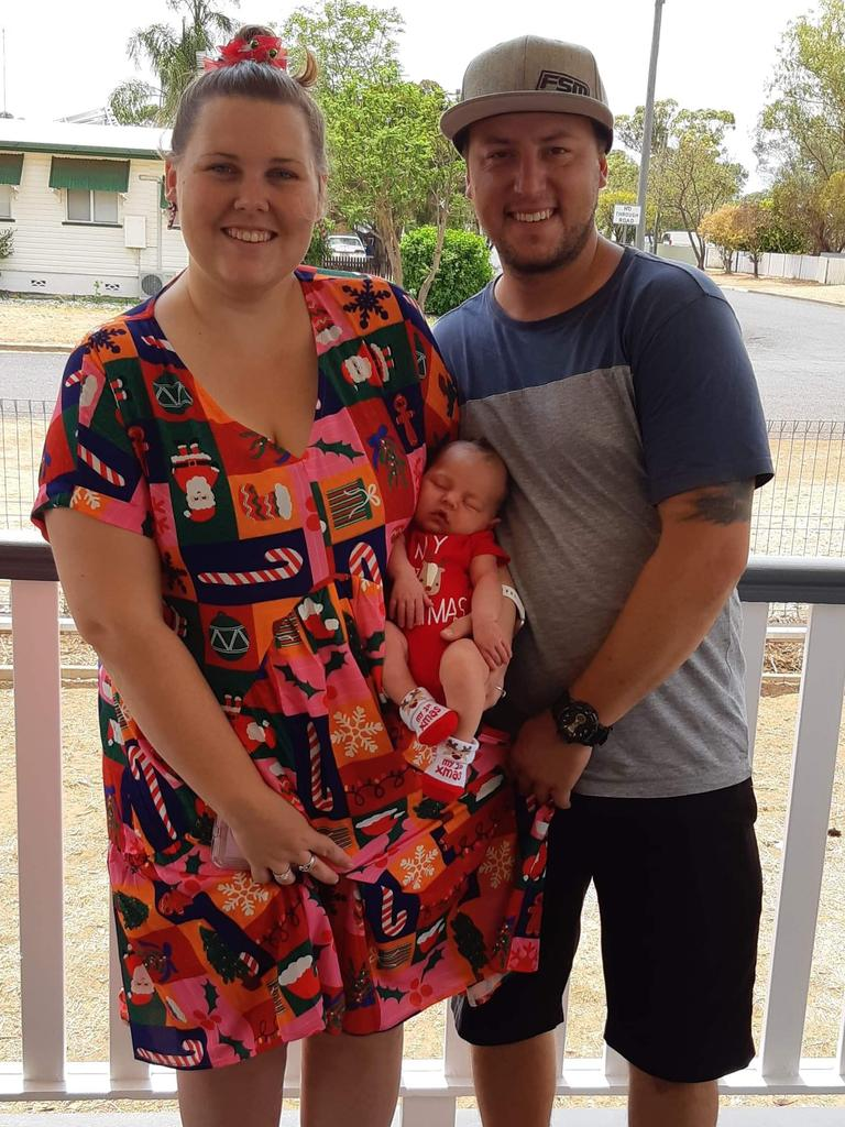 Mother Ashley Langshaw with 2-week old Iylah and her dad, Josh.