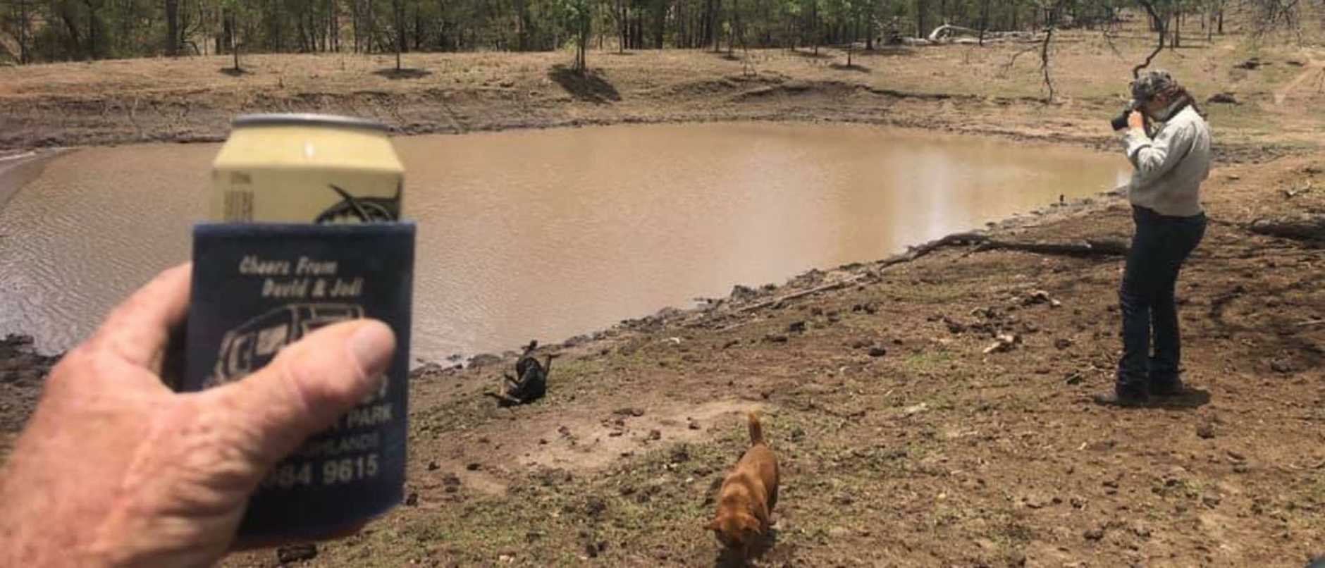 AFTER: The difference 38mm of rain made on Christmas Day to othe dam on Darren Pointon's property at Kinbombi. Photo: Darren Pointon