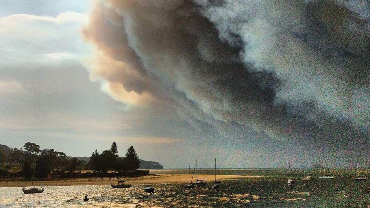 Southern bushfires seen from Batemans Bay. Picture: Paul Wicke