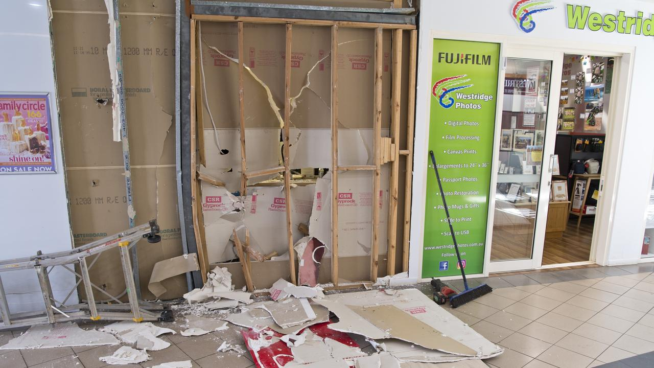 Sections of the Westridge Shopping Centre were damaged in the ram raid. Picture: Kevin Farmer.