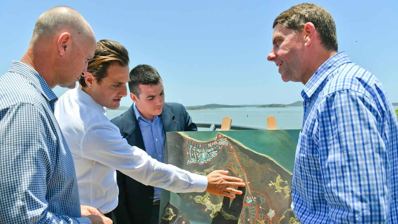 Member for Gladstone Glenn Butcher, Peter Scarf, Zac Beers and Minister for State Development, Manufacturing, Infrastructure, and Planning Cameron Dick announcing the coordinator generals approval of Hummock Hill island resort
