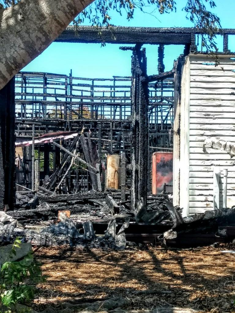 A fire gutted the old Bowen Coke Works building last night.