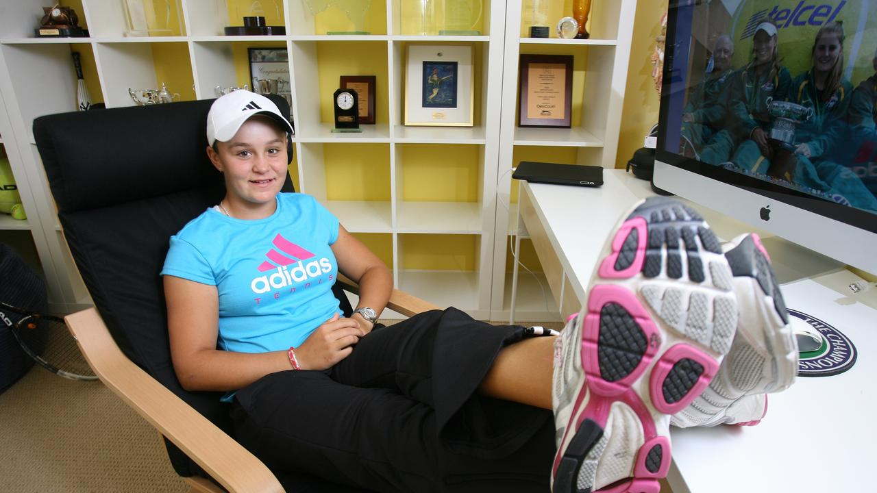 Ipswich tennis champ Ashleigh Barty is back home for a rare stopover from her jet-setting tennis career, which includes the junior wimbledon title earlier this year. Picture: Rob Williams