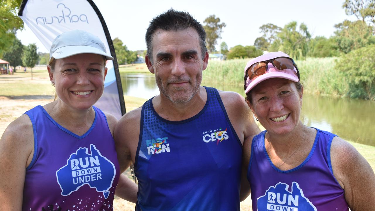 DOUBLE OR NOTHING: Katrina and Doug Taylor with Andrea O'Connell at Stanthorpe's New Year's Day double parkrun.