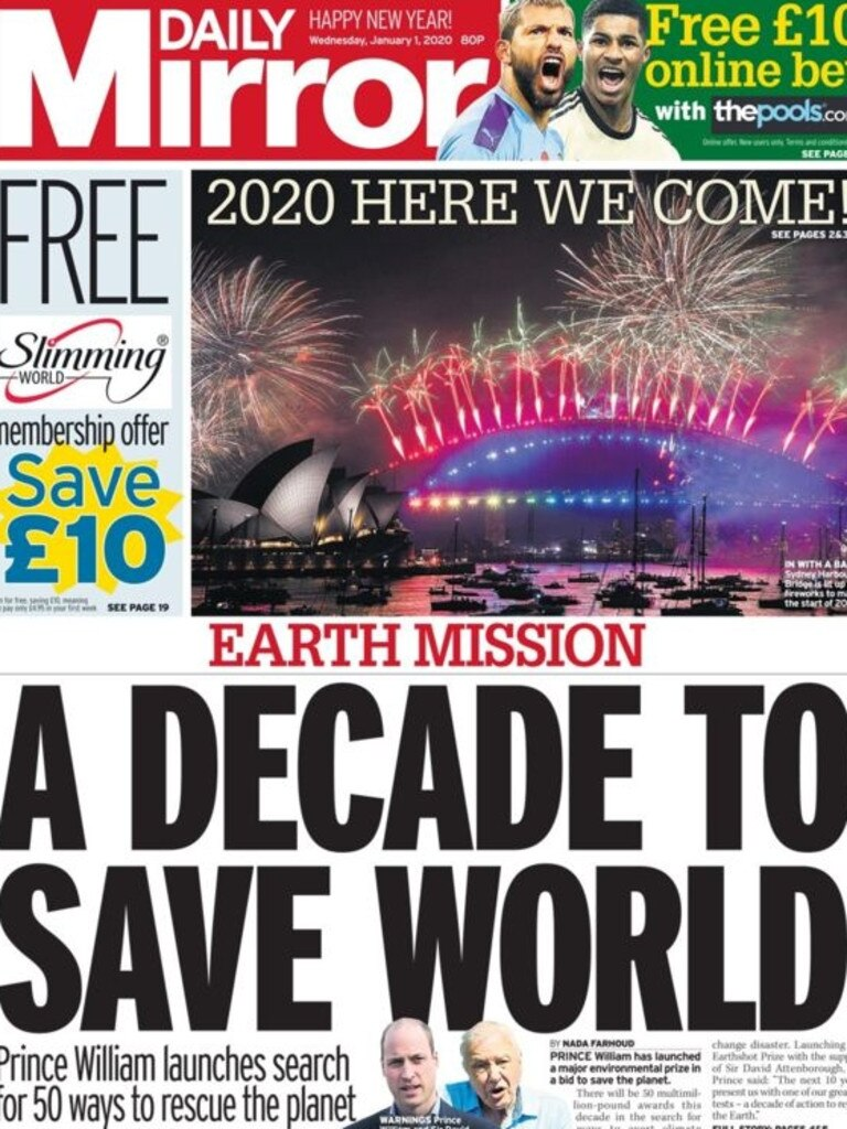 Front page of Daily Mirror in the UK shows the Sydney fireworks.