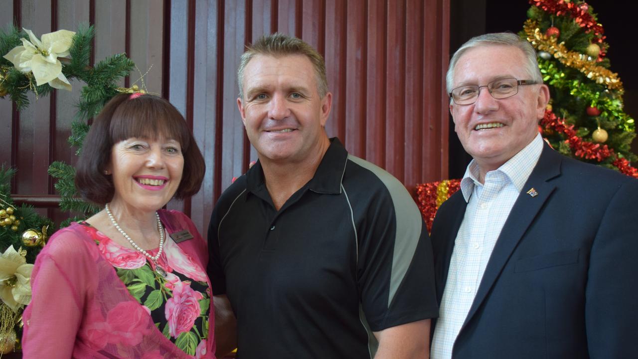 Deputy Mayor Kathy Duff, Shane Webcke with Mayor Keith Campbell. Picture: Matt Collins