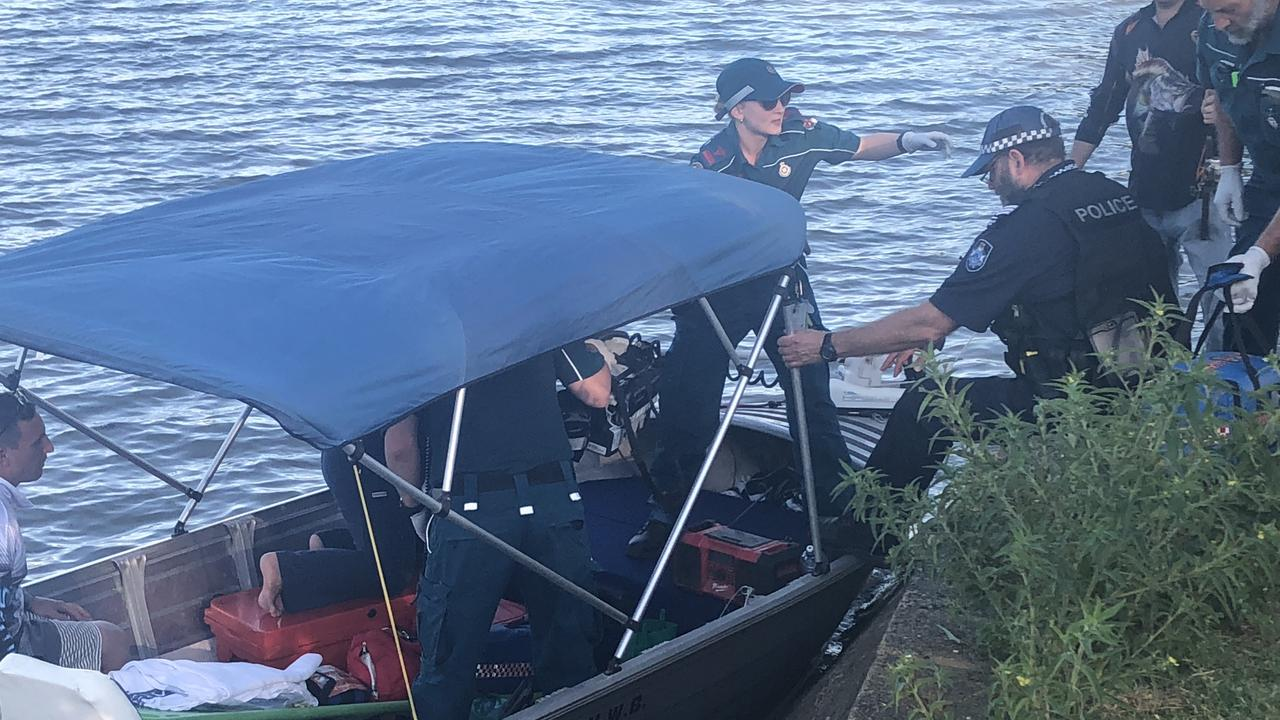 Police heading to the scene of the boat crash on the Fitzroy River