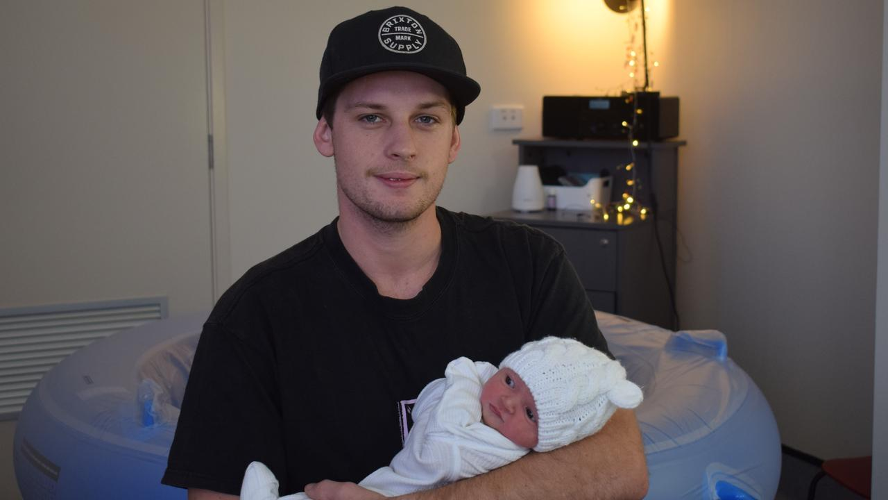 Brandon Brown and with his daughter who was the last baby to be born in Gladstone in 2019