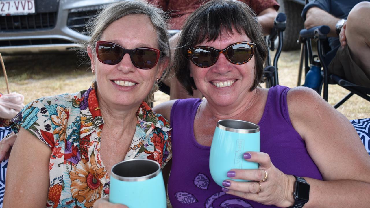 BLUES AWAY: Robyn Nixon and Helen Keogh enjoy a New Year's Day wine at Granite Rockin' Blues.