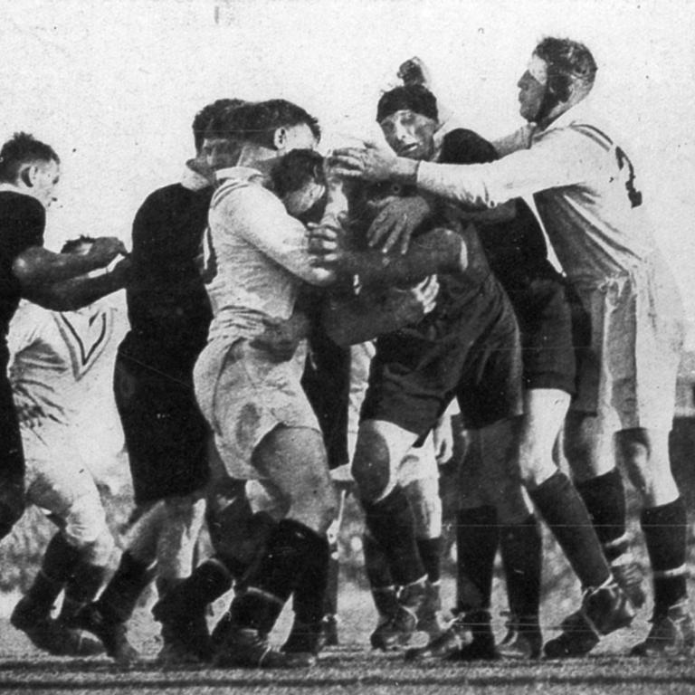 The Australians and the Brits fight it out at the Gabba in the Battle of Brisbane in 1932.