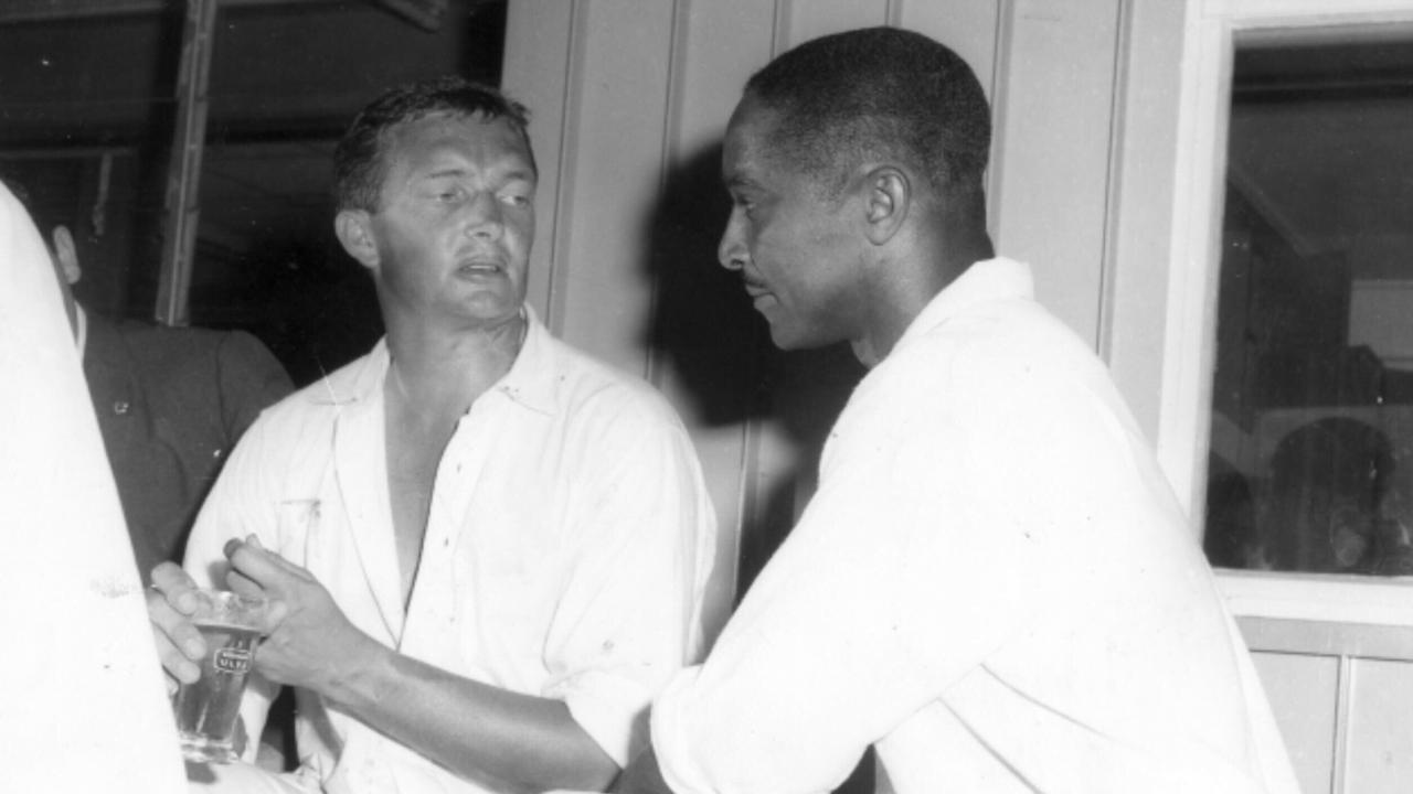 Cricket legends Richie Benaud and Frank Worrell speak after the tied Test.