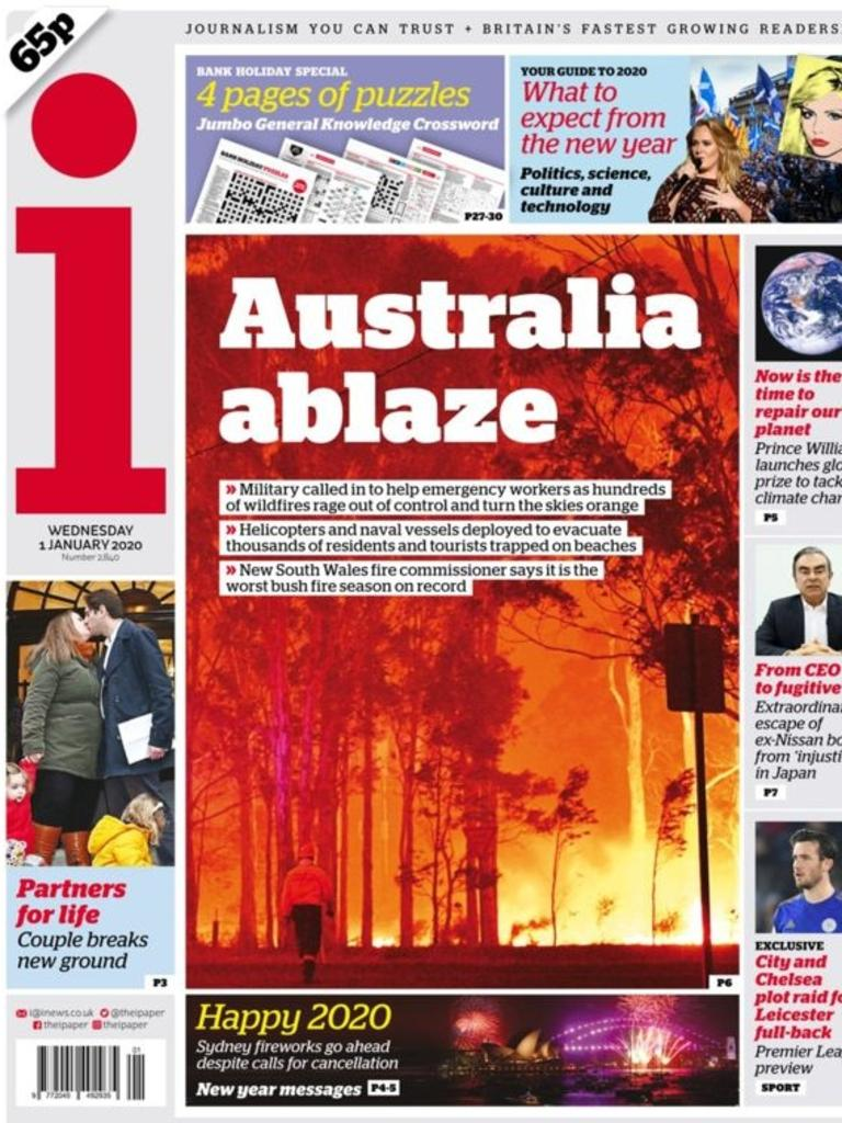 The I newspaper in the UK highlights the Australian bushfires on its front page.