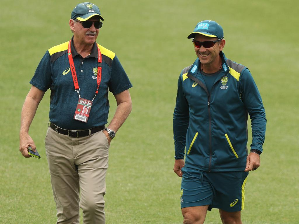 Australian coach Justin Langer (right) with chairman of selectors Trevor Hohns at the SCG on Wednesday. Picture: Brett Costello