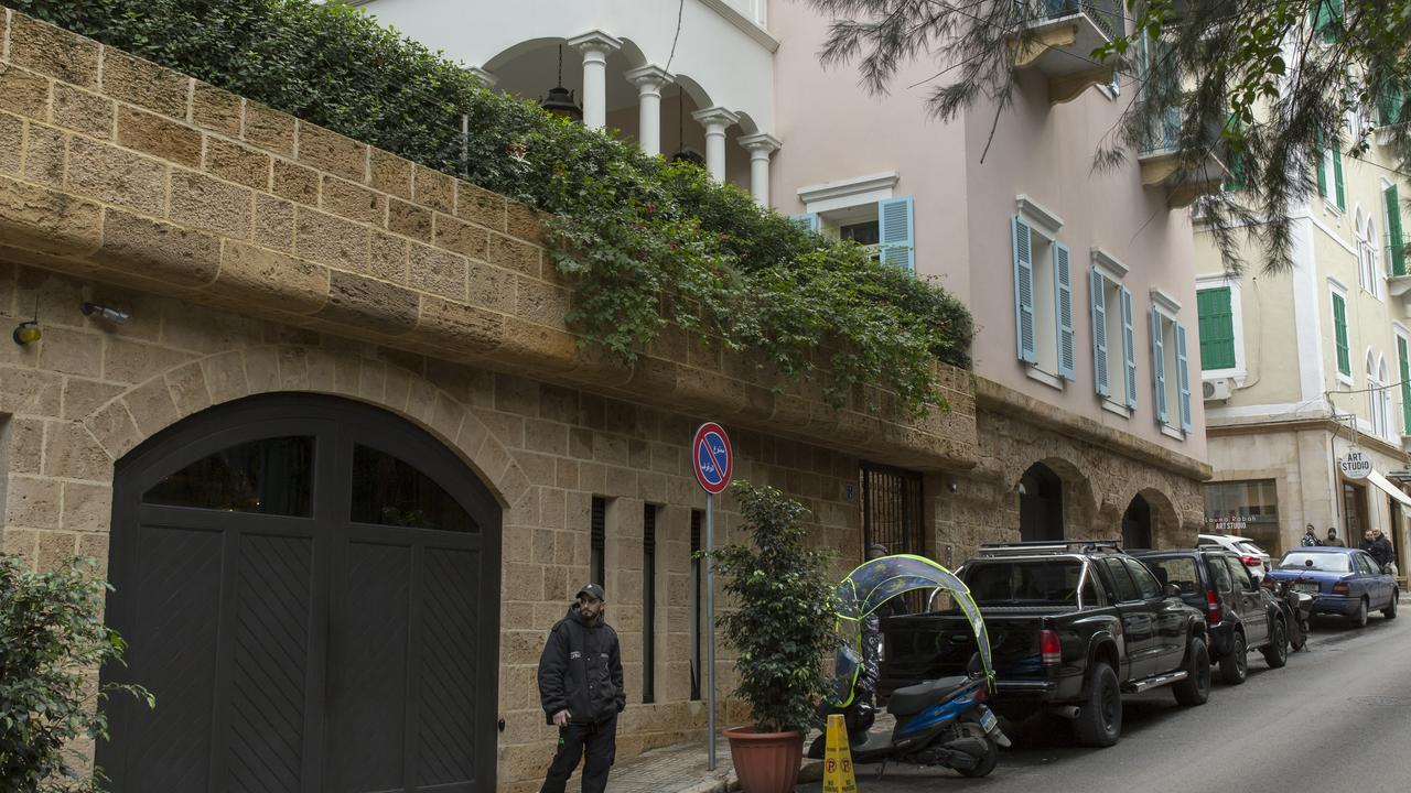 The house of Carlos Ghosn in Ashrafieh, Lebanon. Ghosn, the former chairman of Nissan, fled house arrest in Japan, where he was awaiting trial for financial crimes. Picture: Jacob Russell, Getty