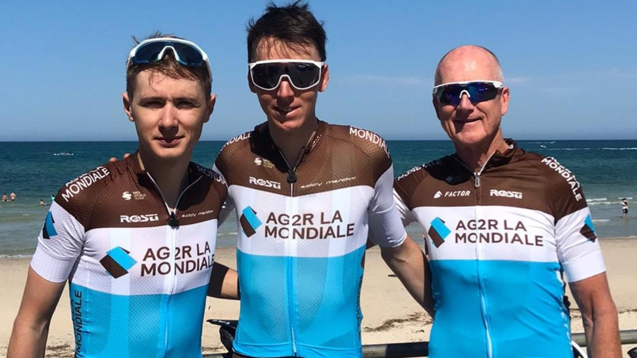 AG2r-La Mondiale's Romain Bardet, Clement Chevrier and Dr David Stapleton Henley Beach. Picture: Supplied