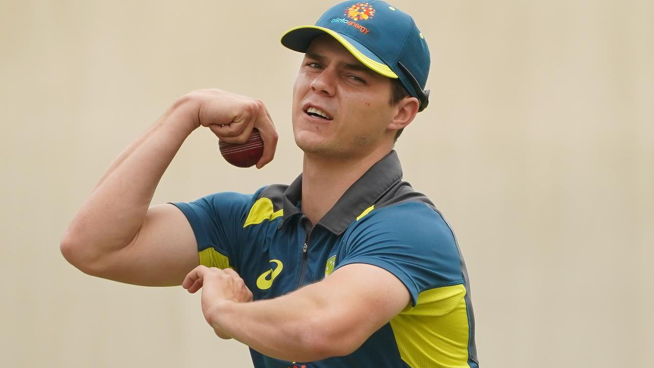 SYDNEY, AUSTRALIA - JANUARY 01: Mitchell Swepson bowls during an Australian Test team training session at the Sydney Cricket Ground on January 01, 2020 in Sydney, Australia. (Photo by Mark Evans/Getty Images)