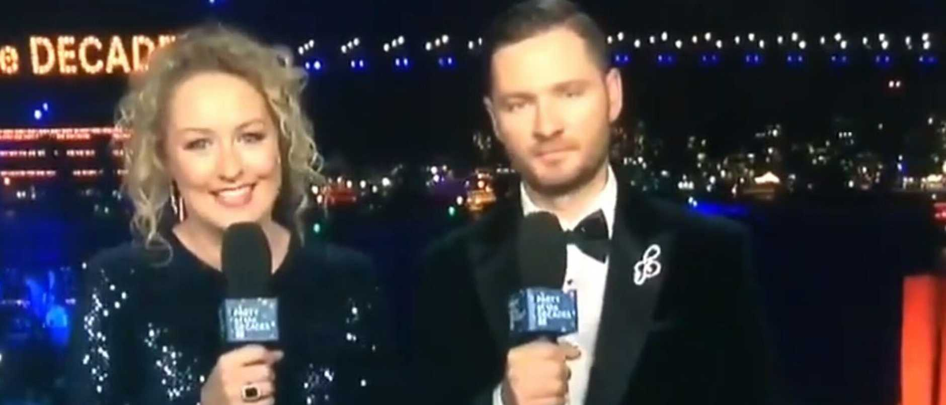 ABC hosts Zan Rowe and Charlie Pickering during the broadcast. Picture: ABC