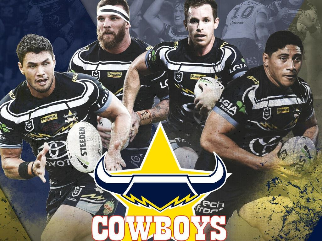 The front cover of the official Cowboys 2020 calendar featuring players Jordan McLean, Josh McGuire, Michael Morgan and Jason Taumalolo.