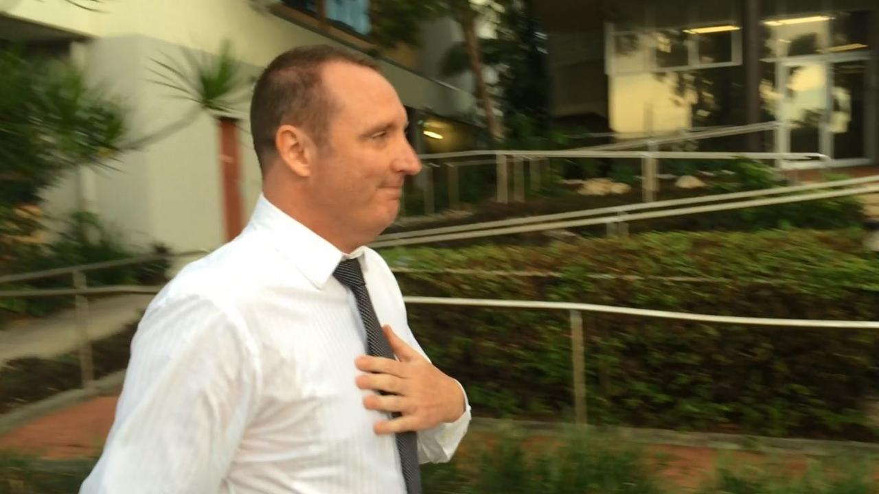 Former police officer David John Latemore, leaves Maroochydore Court House after being sentenced for charges including fraud and stealing. Photo: Stuart Cumming